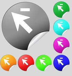 Cursor arrow minus icon sign Set of eight multi vector