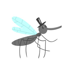 cute cartoon mosquito character in a black hat vector image