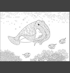 cuttlefish and butterfyfishes over corals vector image