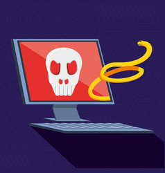 Desktop computer with set icons cyber security vector