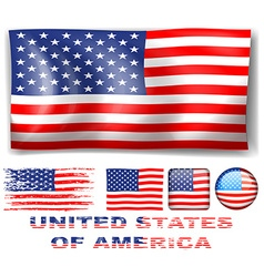 Different designs of United Stated of America flag vector image