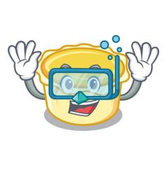 Diving egg tart character cartoon vector