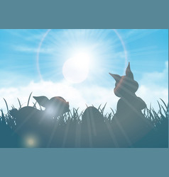 easter background with silhouette bunnies vector image