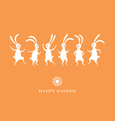easter card cute dancing bunnies vector image