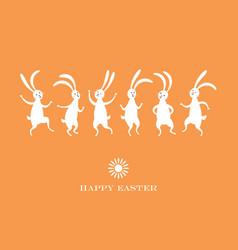 easter card cute dancing bunnies vector image