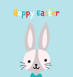 easter greeting card with cute bunny hoppy vector image