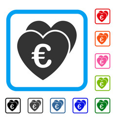 euro favorites hearts framed icon vector image