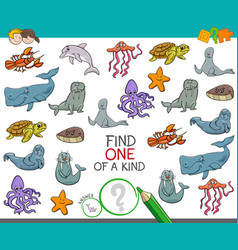 Find one a kind game with marine animals vector