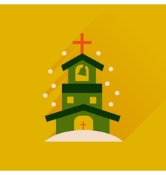 Flat icon with long shadow catholic church vector