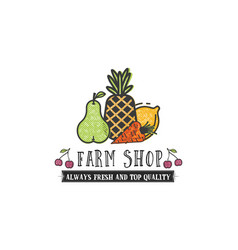 Fruits and vegetables vegetarian banner farm shop vector