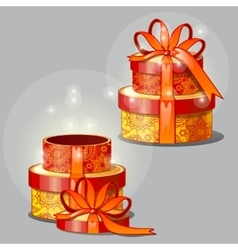 Gift red-and-yellow boxes vector