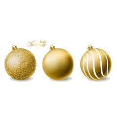 golden glitter christmas balls realistic vector image