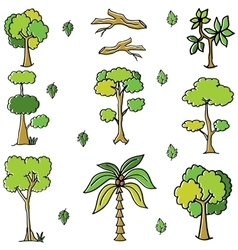 Green tree and leaf doodles vector