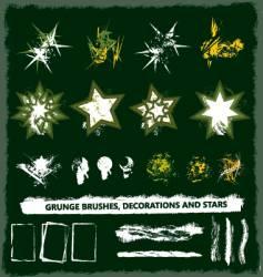 grunge brush and decoration set vector image