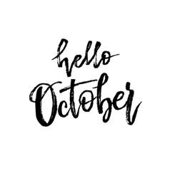 Hello october autumn brush lettering vector