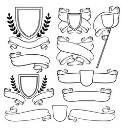 Heraldic ribbons and crest isolated outline vector