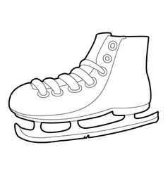 Ice skate icon outline style vector