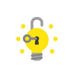 icon concept of key unlock light bulb padlock and vector image