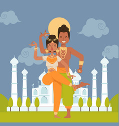 Indian dancers cartoon characters vector