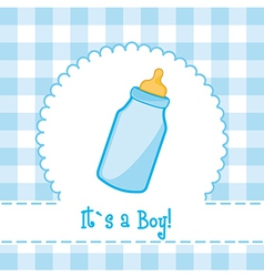 its a boy card with bottle baby baby shower vector image