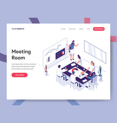 landing page template meeting room concept vector image