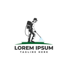 Lawn garden maintenance with spraying logo vector