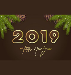 lettering happy new year 2019 on wooden background vector image