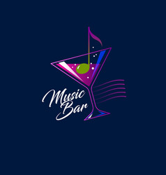 Logo music bar note glass drink vector