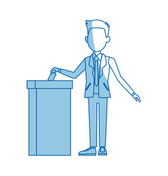 Man in a suit putting paper in the ballot box vector