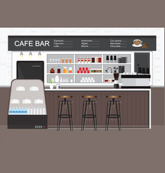 Modern cafe shop interior vector