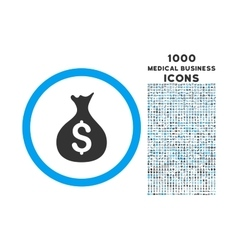 Money Sack Rounded Symbol With 1000 Icons vector image