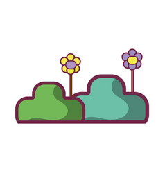 Nice plants and flowes with petals vector