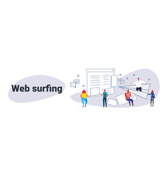 people browsing online website page web surfing vector image