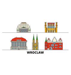 Poland wroclaw flat landmarks vector