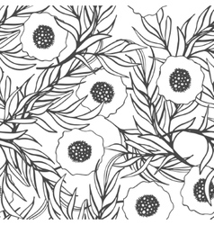 Poppy flower seamless pattern vector image