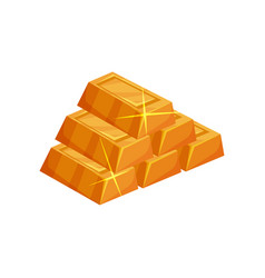 Pyramid from shiny golden ingots cartoon icon of vector
