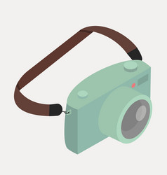 retro green camera with strap vector image