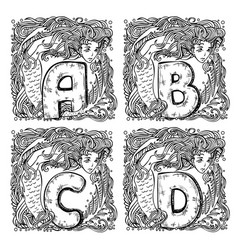 Retro mermaid alphabet - a b c d vector