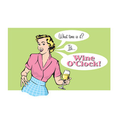 retro pretty woman with wine vector image
