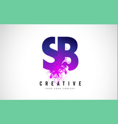 sb s b purple letter logo design with liquid vector image