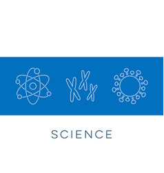 Science banner thin line icons vector