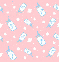 seamless pattern with milk bottle cute childish vector image