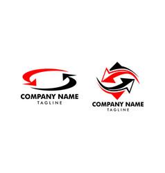 set arrow exchange logo icon template vector image