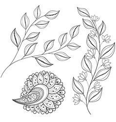 set monochrome contour flowers and leaves vector image