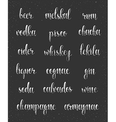 Set names of species alcohol in calligraphy vector