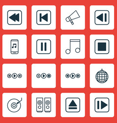 Set of 16 audio icons includes mute song song ui vector