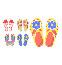 Set of summer shoes in cartoon style flat design vector