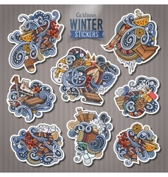 Set of Winter season doodle cartoon stickers vector image