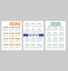 set vertical pocket calendar 2020 year on spanish vector image