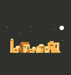 Skyline of old city of jerusalem over a night vector